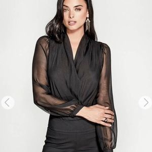 Marciano Sexy Sheer Sleeve Drape Neck Bodysuit